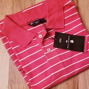 NWT Marks & Spencer Stripe 100% Cotton Polo Shirt